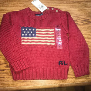 Ralph Lauren red flag sweater size 3T NWT